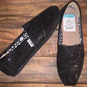TOMS Classic Glitter (Black) Slip-On
